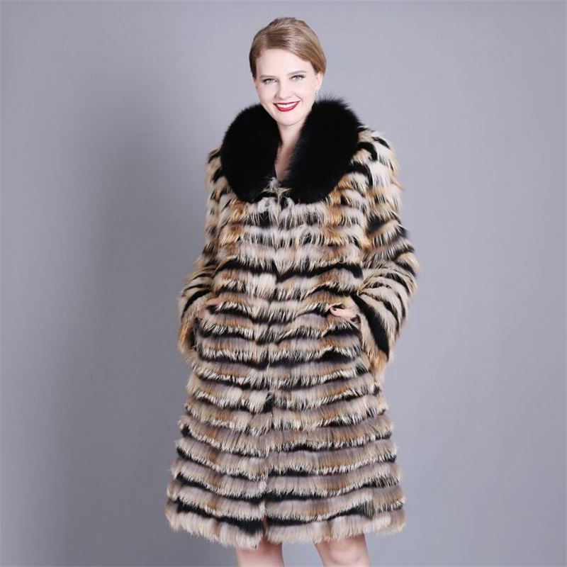 IANLAN luxueux hiver femmes rayé fourrure de renard manteaux Parka mode vraie fourrure pardessus neuf quart manches Plus 7XL IL00353