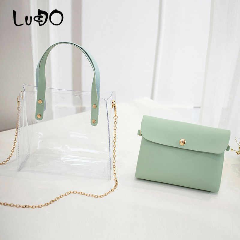 Lucdo 2019 Fashion Wanita Tas Transparan PVC Tas Bahu Kecil 2 Pcs Set Tas Tangan Rantai Tote Messenger Tas Sac utama