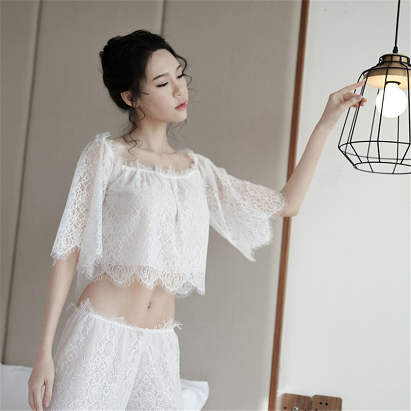 2019   Pajamas     Sets   For Women Hot Intimates Lace Lingerie Nightgown Suits Pyjamas Underwear Slash Neck Sexy Girl Sleepwear