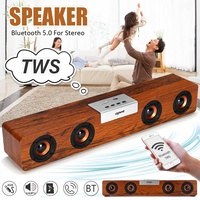 Smalody 20W TWS Portable Wooden bluetooth 5.0 Speaker Soundbar Bass Music Box Support FM Bass Music Subwoofer Stereo for PC Home