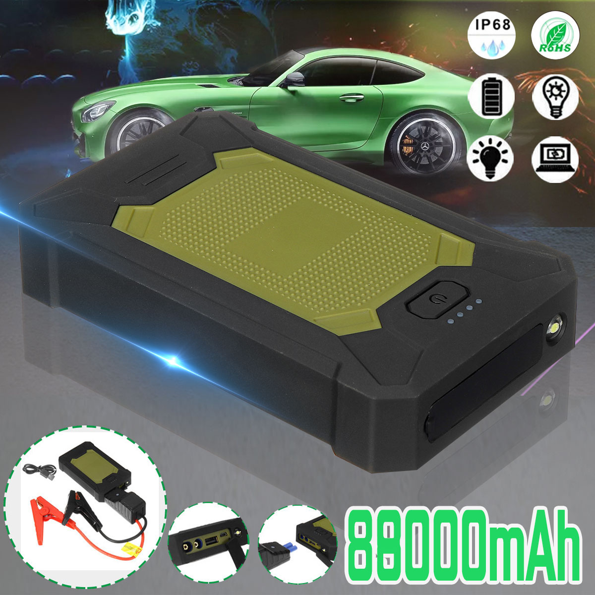 88800mAh Car Jump Starter 5V 600A 4 USB LED Portable Slim Emergency Power Bank Battery For Car Mobile Phones IP66 Waterproof