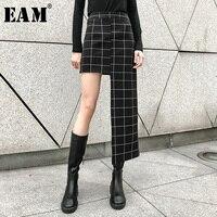 [EAM] 2019 New Spring Summer High Waist Black Plaid Printed Irregular Hem Stitch Half body Skirt Women Fashion Tide JL956