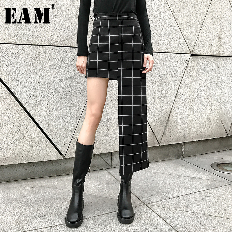 [EAM] 2020 New Spring Summer High Waist Black Plaid Printed Irregular Hem Stitch Half-body Skirt Women Fashion Tide JL956