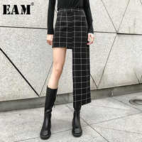 [EAM] 2019 春夏新作ハイウエスト黒のチェック柄プリント不規則な裾ステッチ半身スカート女性ファッション潮 JL956