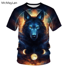 Galaxy Space Wolf Moon 3D Printed Tshirt Men/Women Streetwear Black Tee T Shirts Summer Juvenil Tops Clothes polera deportiva eagle printed galaxy tee