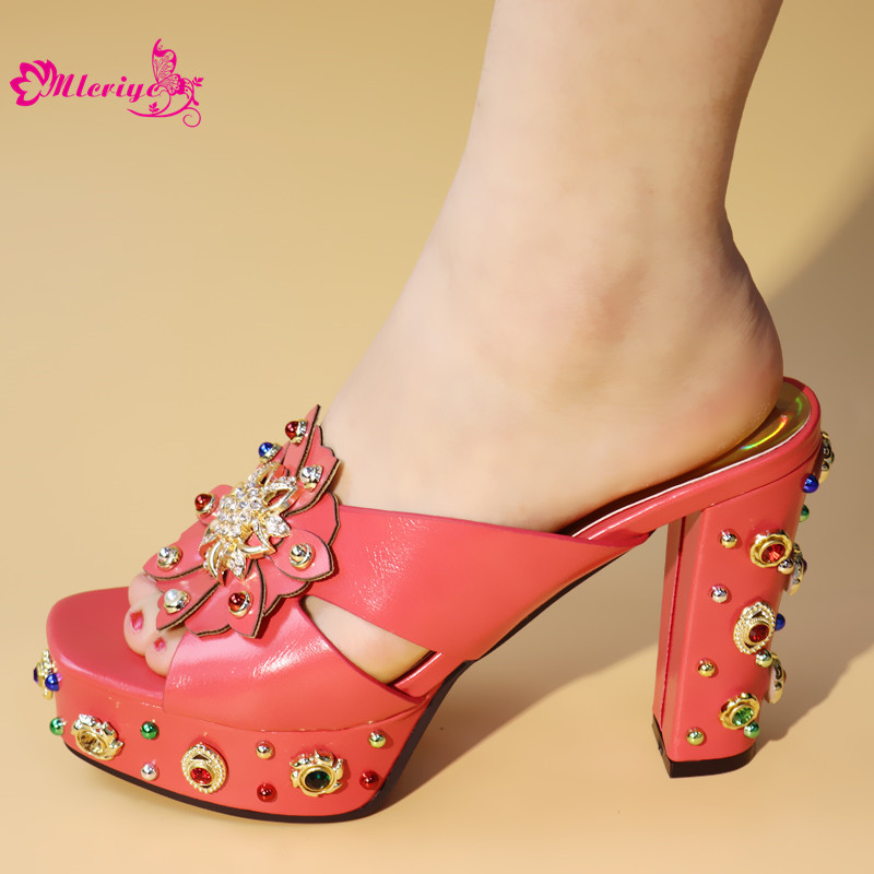 New Red Rhinestone Women Wedding Shoes High Quality African Paty Shoes Open Toe Sexy Ladies Shoes Italian Women Wedding Pumps