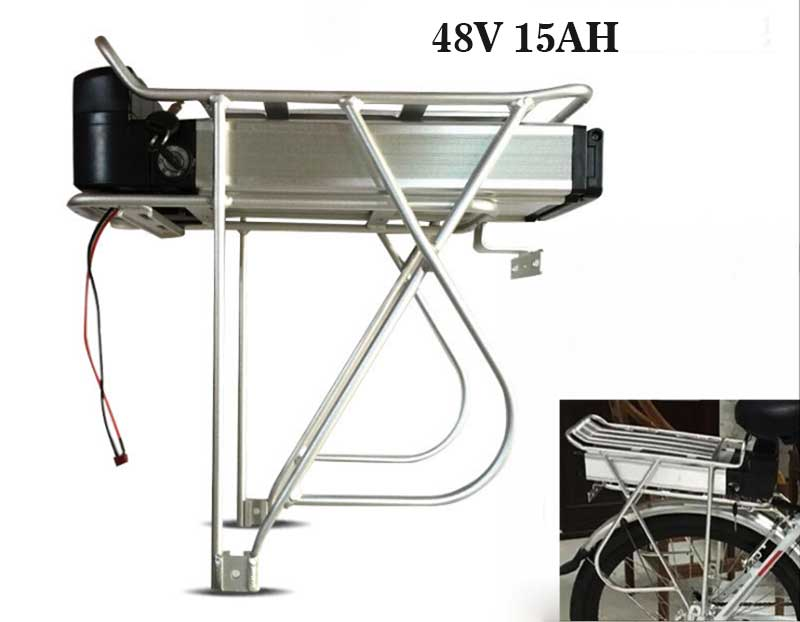48V 15AH Lithium Carrier Battery Rear Rack For 1000W Electric E Bike with Charger High Quality