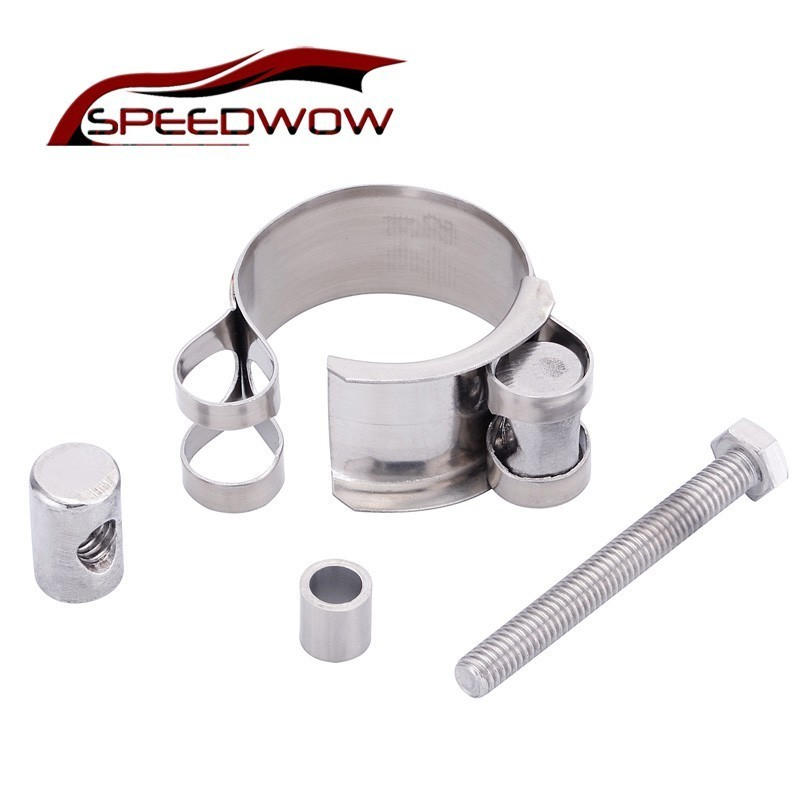 SPEEDWOW Universal Stainless Steel Exhaust Clamp Exhaust Banjo Clamp Clip For Slip-on Type Motorcycle Muffler Silencer Car Part