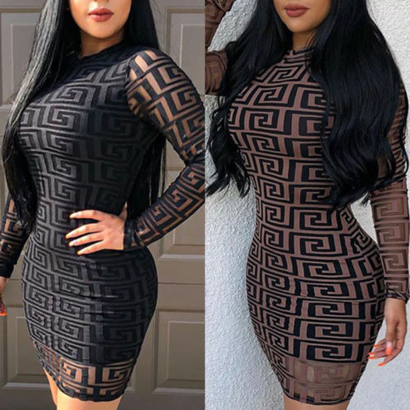 Brand New Fashion Women <font><b>Sexy</b></font> Ladies O-Neck Black <font><b>Dress</b></font> <font><b>Bandage</b></font> Bodycon Long Sleeve <font><b>Party</b></font> Cocktail Short Mini <font><b>Dress</b></font> image