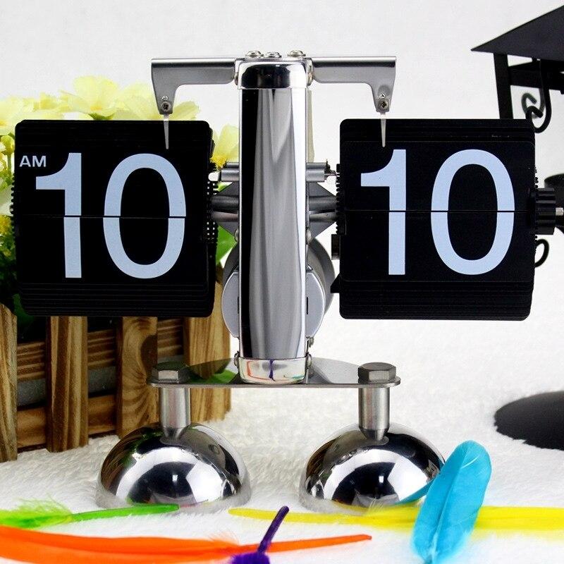 Despertador Vintage moderne échelle en métal bureau bureau horloge décor à la maison double pied Style Antique Auto Flip numérique réveil Reloj