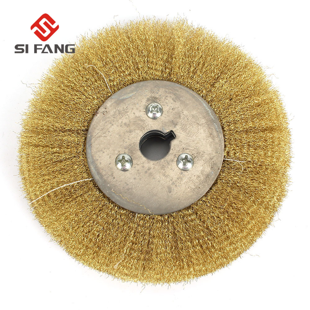 Rotary Copper Wire Brush Crimp Bevel Wheel 200mm 250mm 300mm For Bench Grinder