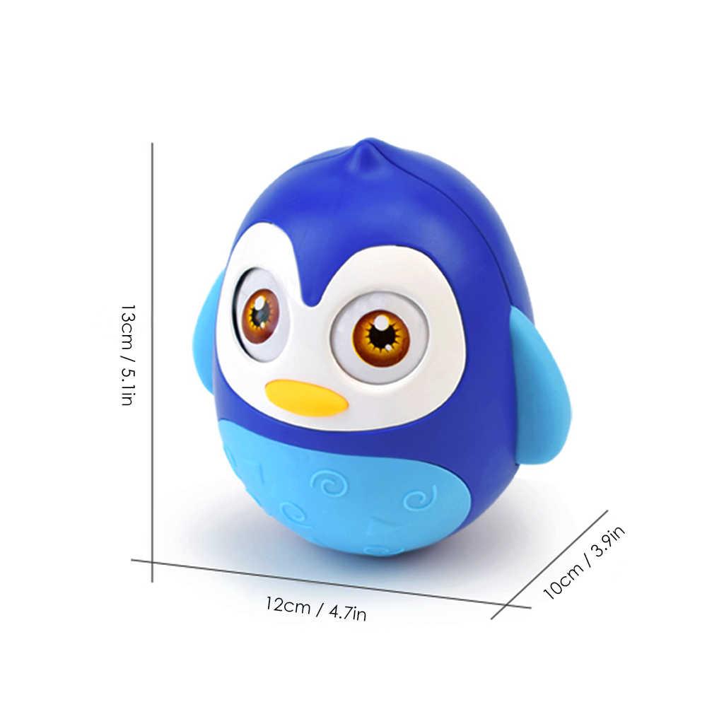 Educação infantil Brinquedo Do Bebê Pinguim Tumbler Anel de Brinquedo com Chocalho Som do Sino Da Criança Musical Brinquedo Oscilação para 0 Mês + bebês... Azul