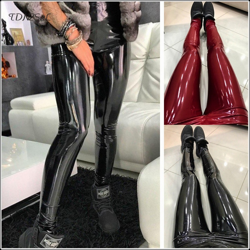 Sexy Black PU Leather High Waist Skinny Pencil Pants Women PVC Shiny Push Up Hip Leggings Jegging Trouser Casual Thin Streetwear