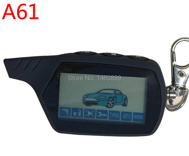 2-way A61 LCD Remote Control Key Chain Fob for Russian Anti-theft StarLine A61 Keychain two way car alarm system
