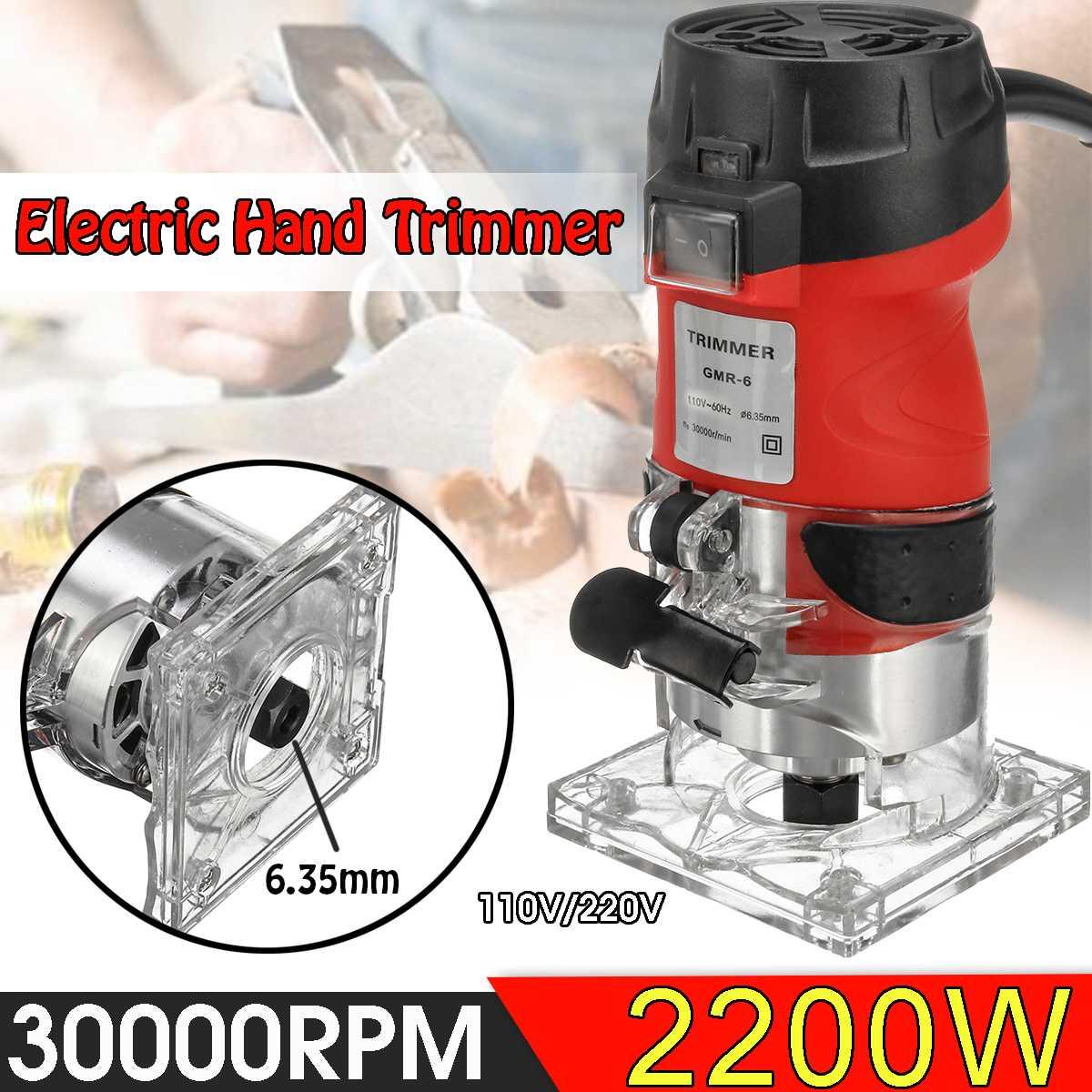 2200W tondeuse à main électrique 220 V/110 V bois plastifieuse routeur 6.35mm coupe sculpture fraiseuse menuiserie outils électriques