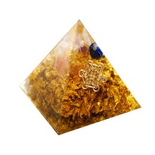 Orgonite Pyramid Maripura Chakra GabrieTreatment Anxiety Natural Citrine Lapis White Crystal Resin Crafts Decoration