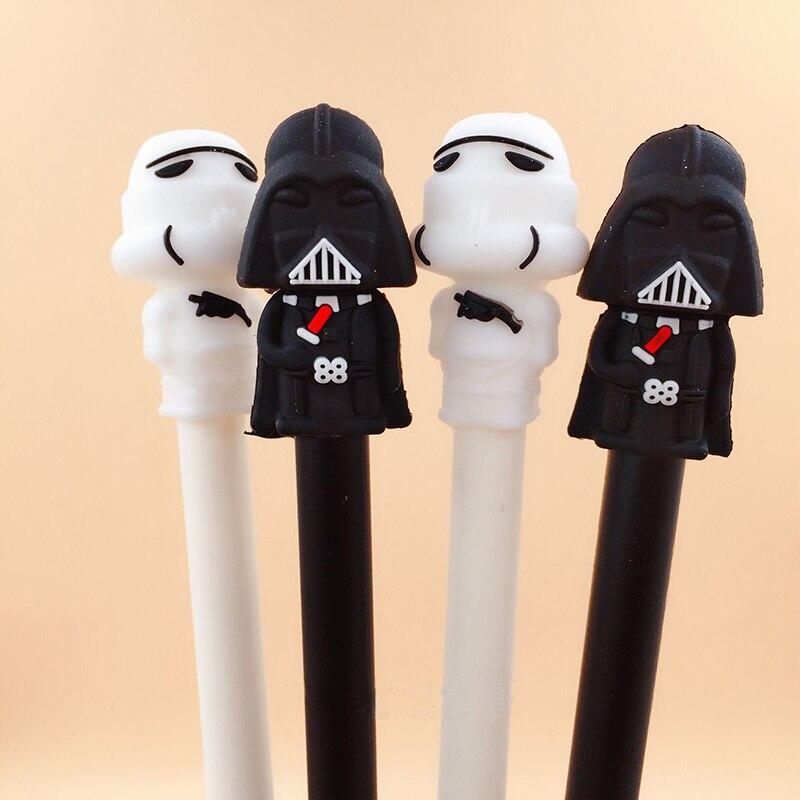2pcs 0.5mm Black Ink  Pen Star Wars Black White Warrior Gel Pen Escolar Papelaria School Office Supply Promotional Gift