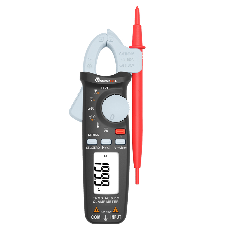 MT866 Digital True RMS Auto Ranging Clamp Meter Multimeter AC DC Voltage Current Resistance Capacitance Tester