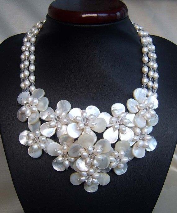 Schöne Trendy fashion Süßwasser perle Meerwasser shell blume wrap halskette für frauen-in Anhänger-Halsketten aus Schmuck und Accessoires bei  Gruppe 1