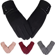 gloves women winter new pattern cashmere trendy pure color wouch screen warm