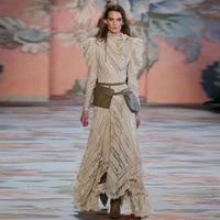 c196361d028ed8 2019 Spring Elegant Women Beige Lace Long Dress Runway Designer Embroidery  Long Sleeve Female Party Maxi