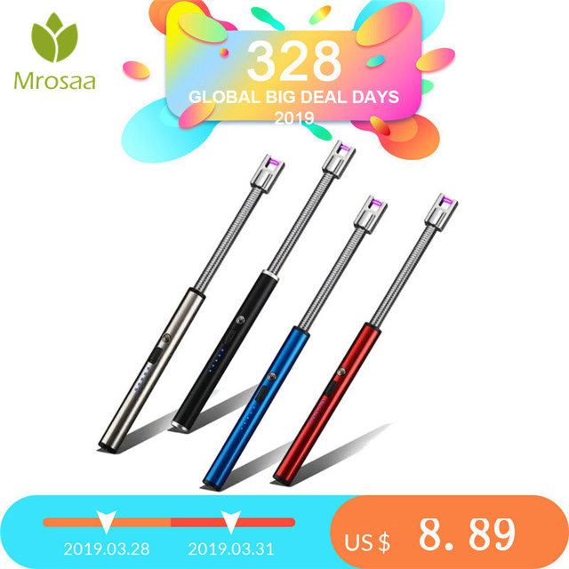 Long Electric Rechargeable USB Kitchen Lighter Windproof Electronic Cigarette Lighters Plasma Pulsed Arc BBQ Flameless Lighter