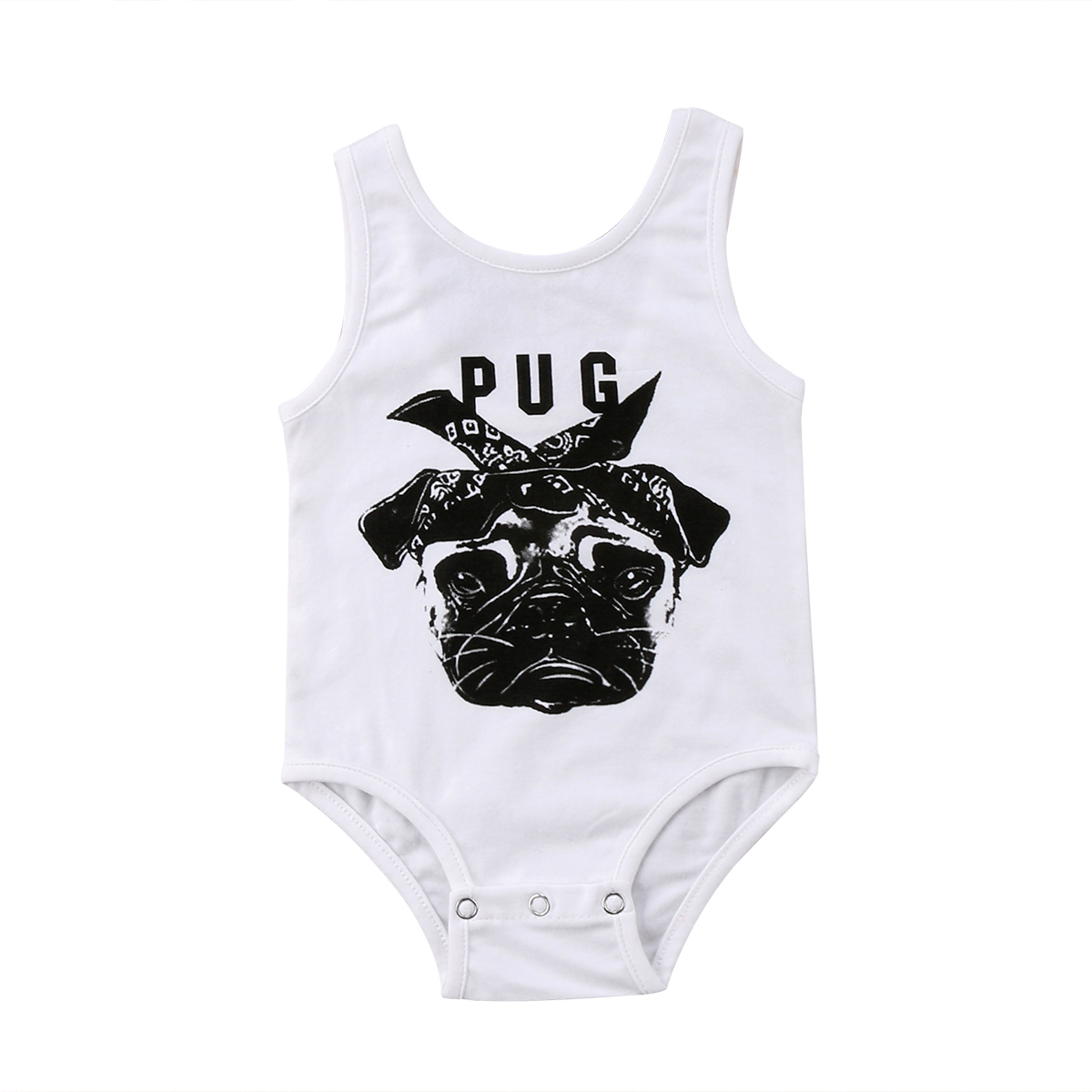 17faaa83a 0 24M Newborn Baby Boy Girl Bulldog Sleevevless Vest Cute Pug Dog Print  Jumpsuit Bodysuit Outfits-in Bodysuits from Mother & Kids on Aliexpress.com  ...