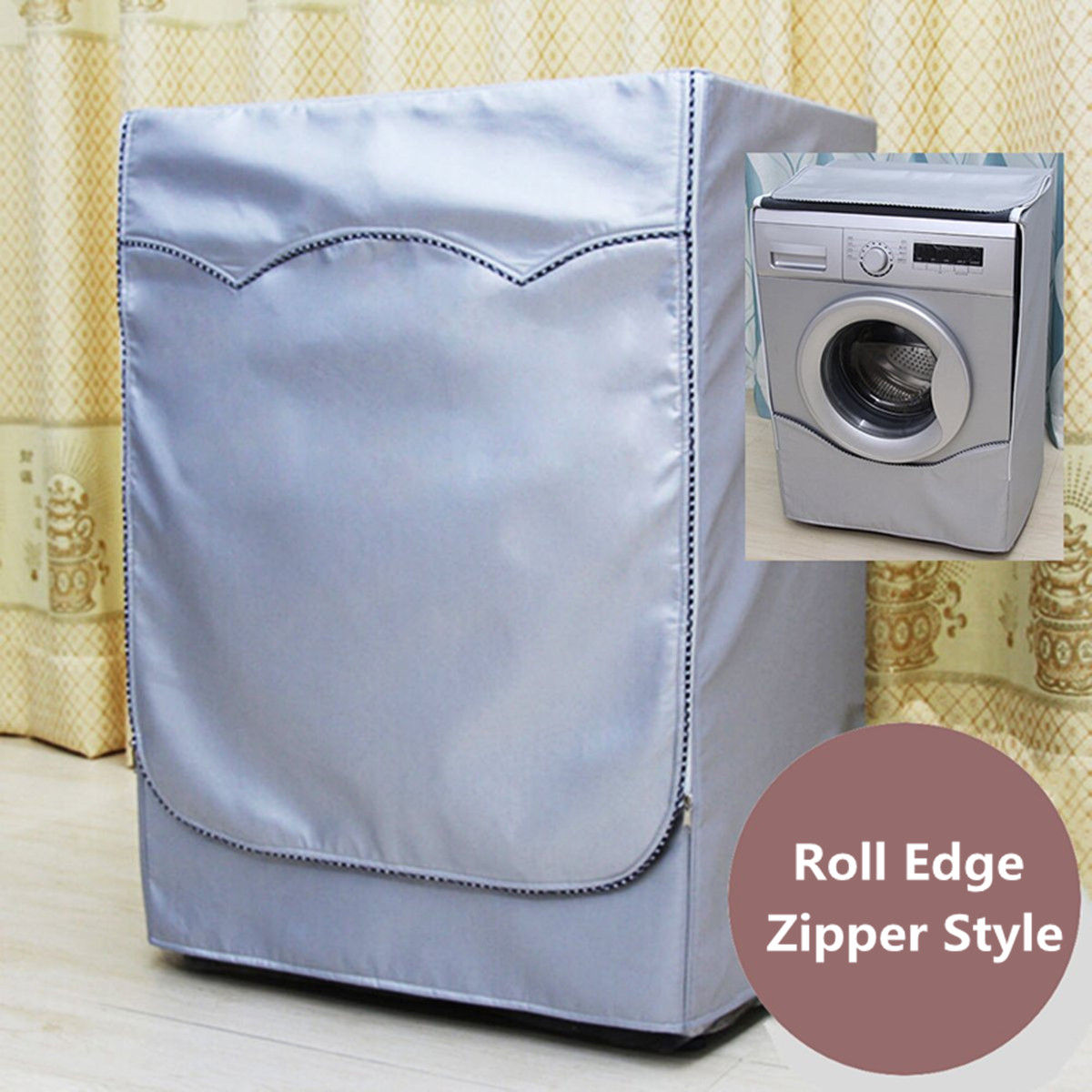 Washer Dryer Cover Roller Washing-Machine-Cover Silver Fully-Automatic Dustproof Sunscreen