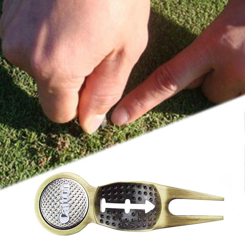 1pc New Golf Divot Tool Metal Green Hardware Tools Golf Marker Key Chain Liner Clip Accessories Dropshipping