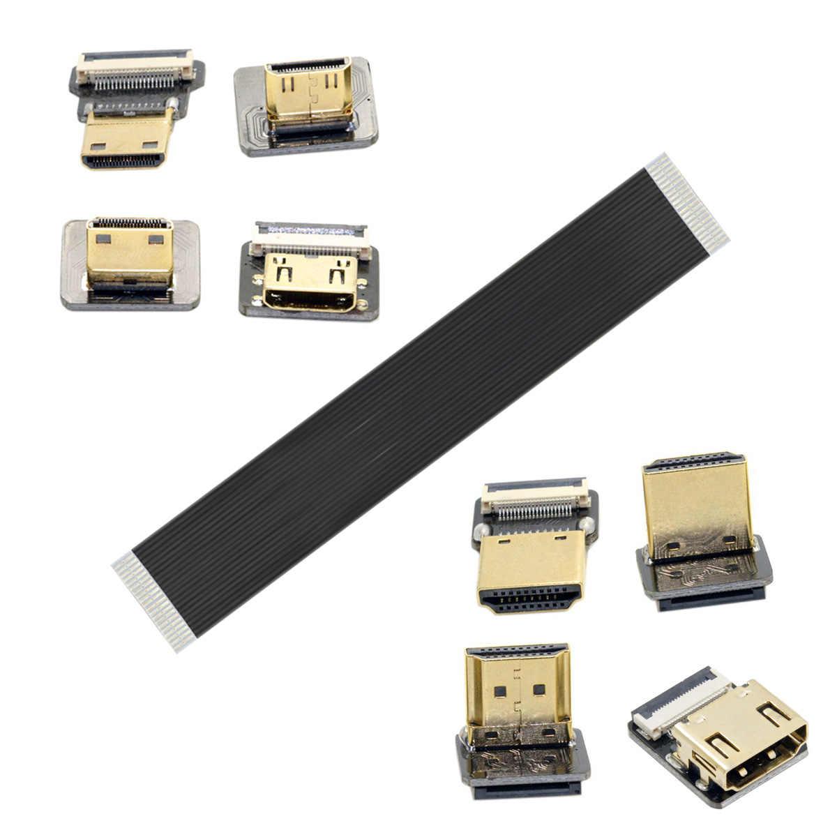 Chenyang A4-D HDMI FPV Loại MỘT nữ để CHUYỂN Micro HDMI Type D Lên Xuống góc nam Nữ Khuỷu Tay HDTV Bằng Phẳng FPC Cáp cho GH4 GoPro BMPCC A5000