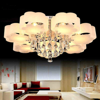Modern Plum Acrylic Bedroom Led Chandeliers Lighting Lustre Crystal Living Room Dimmable Led Ceiling Chandelie Light Fixtures