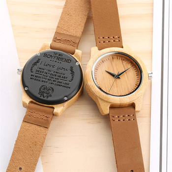 Unique Customized Engraved Wooden Watch Men's Quartz Wrist Watches Best Birthday Anniversary Gifts for Male reloj para hombre