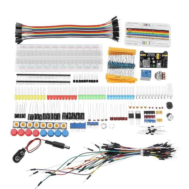 مكونات إلكترونية مجموعات بداية جونيور مع المقاوم لوحة الخبز وحدة امدادات الطاقة لاردوينو مع حزمة صندوق بلاستيكي