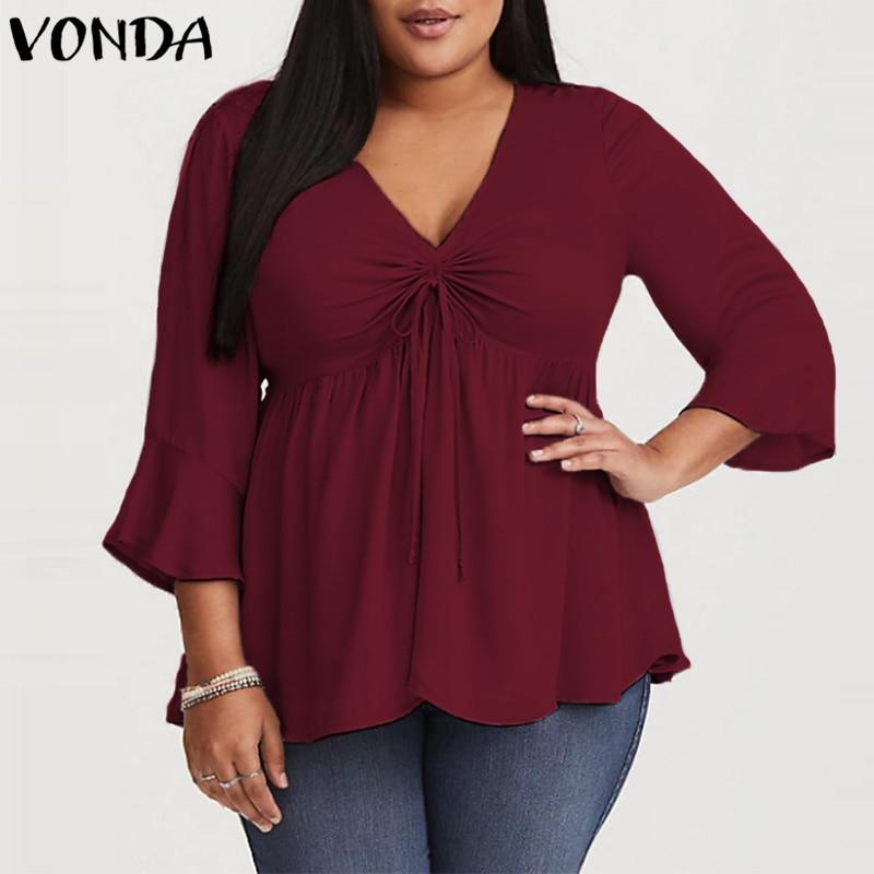 VONDA Women   Blouse     Shirts   2019 Autumn Spring Casual Sexy V Neck High Waist Blusas Femininas Ruffle 3/4 Sleeve Tops Plus Size 5XL