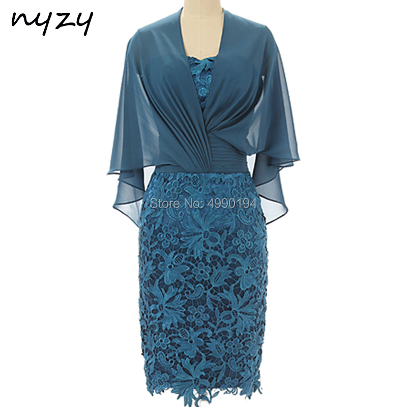 NYZY M120 Elegant Sheath Teal Mother Of The Bride Groom Dresses Lace Cape Sleeves Short Formal Dress Wedding Party Gown Guest