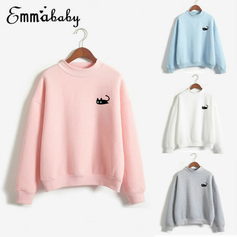 2019 Fashion Cat Printed Women Hoodies Sweatshirt Ladies Sweat Shirt Tops Jumper Pullover Sweatshirts