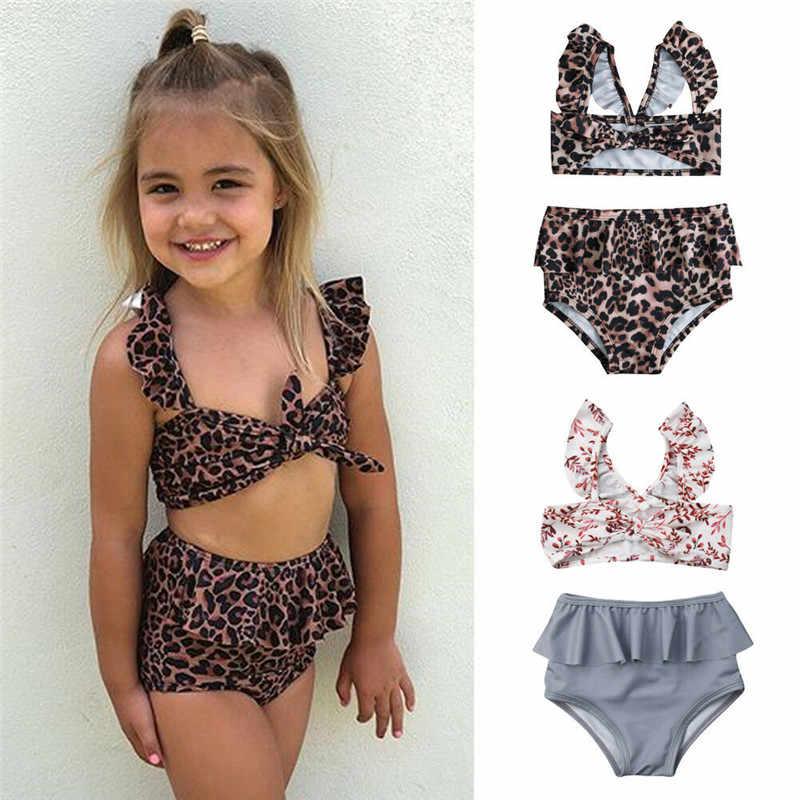 Toddler Baby Girl Bikini Sets Solid Ruffles Beach Swimsuit Bathing Suit Swimwear Headband 2 Pcs Set