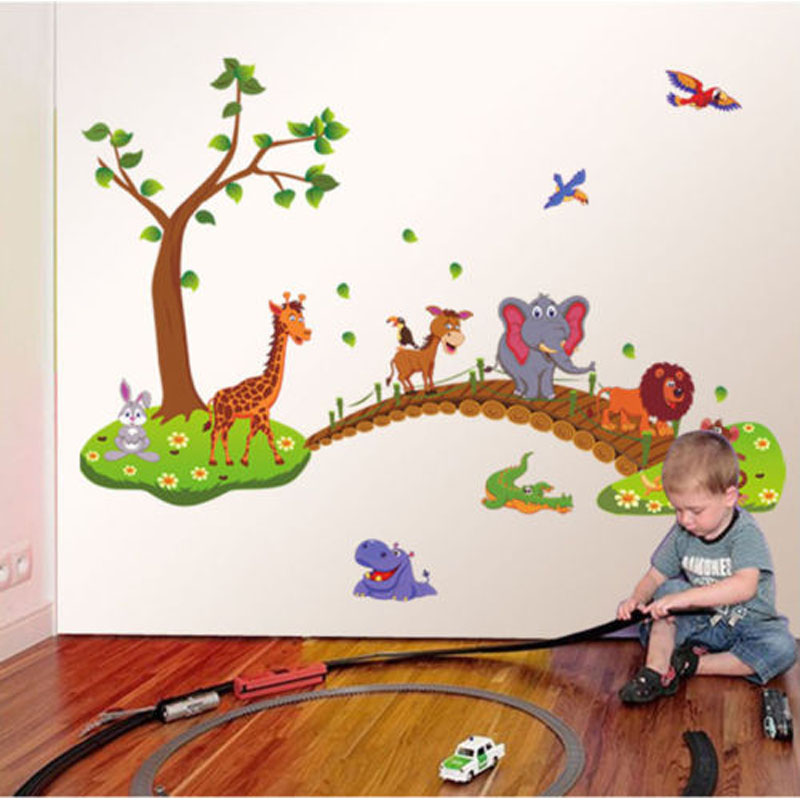 Large Cartoon Zoo Wall Stickers For Children Kids Rooms Decor Removable Vinyl Wall Stickers Nursery Home Wall Decal