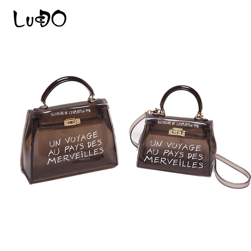 7c52731b8045 LUCDO Clear Transparent PVC Shoulder Bags Women Candy Color Women Jelly Bag  Purse Solid Color Handbag Crossbody Bag bolsos mujer-in Shoulder Bags from  ...