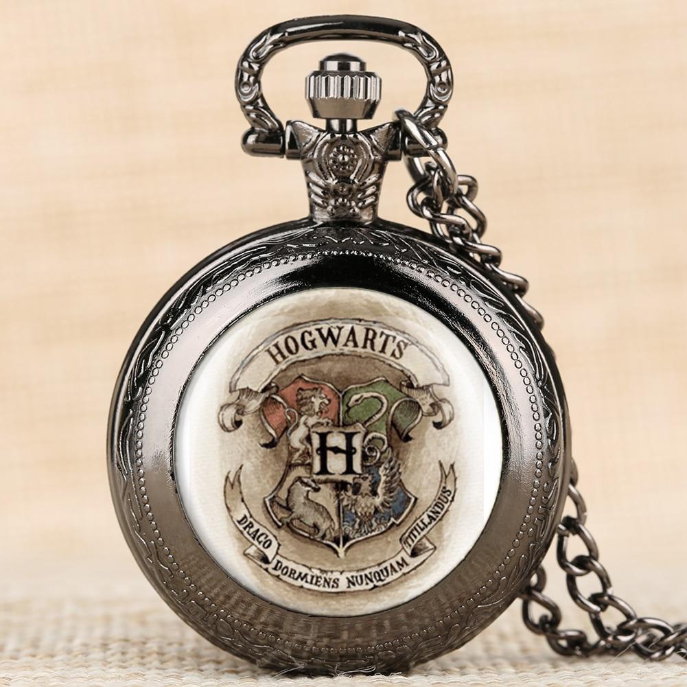 Hogwarts Retro Black Quartz Fob Watch Badge Patter Silver Pocket Watches Creative Necklace Chain Pendant Clock For Boys