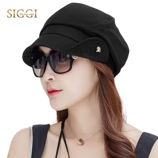 FANCET Bayan İlkbahar Yaz Bere Şapka Düz Pamuk Yumuşak Ayarlanabilir Jakarlı Bel Şeritler Zarif Moda Gazeteci Kapaklar 89027