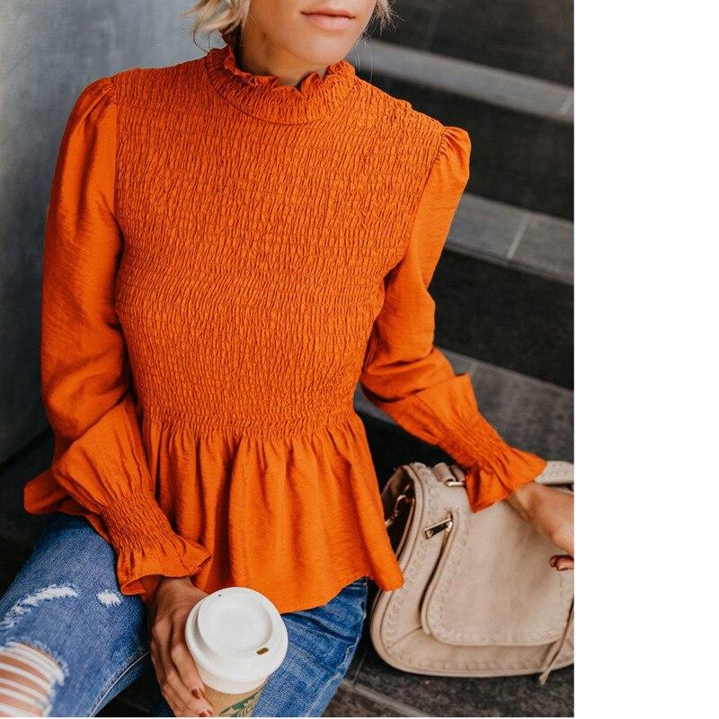 Блузка женская, с рукавом-фонариком и баской, офисная, 2019