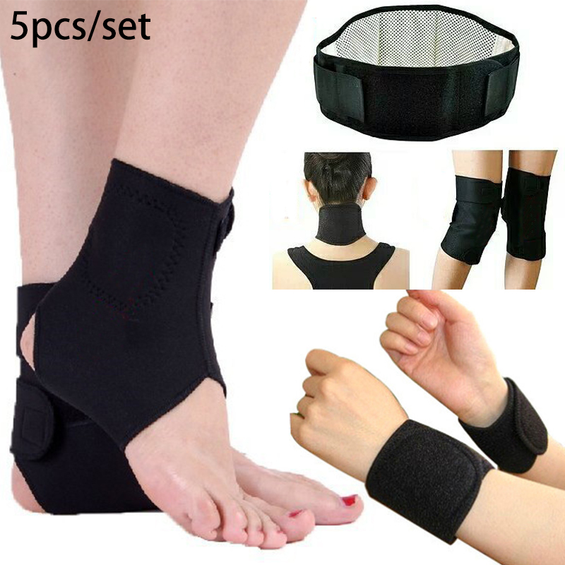 Tourmaline Magnetic Belt Therapy Self-heating Warmers Arthritis Knee/ Wrist/ Neck Pad / Waist Support Belt /ankle 5pcs Set