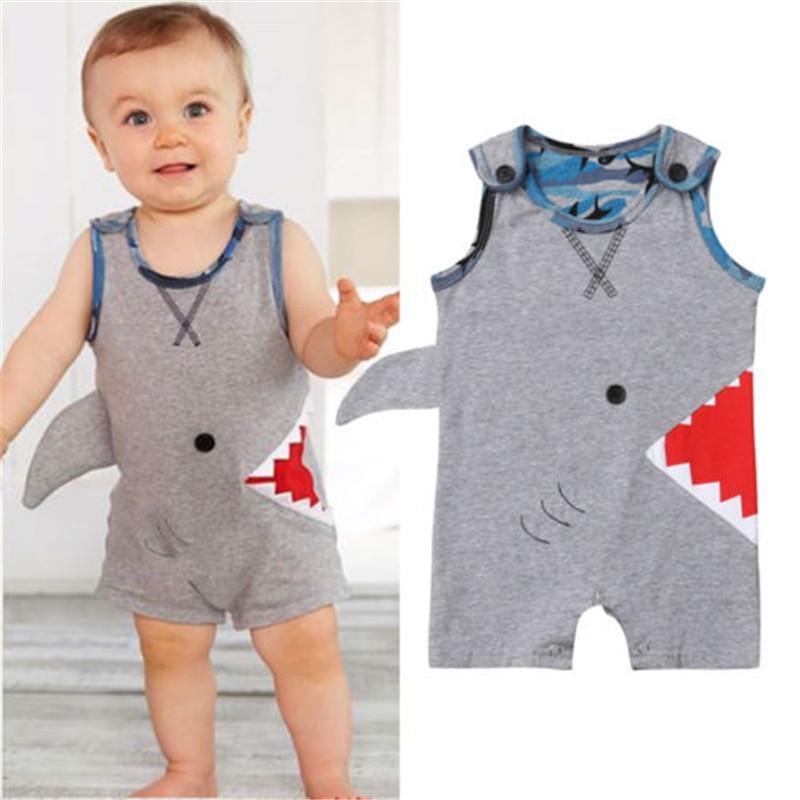 Newborn Infant Baby Boy Shark Sleeveless   Romper   Body suit Jumpsuit Outfit Sunsuit