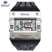 XINJIA Original Unique Design Square Men Wristwatch Casual fashion Resin strap Electronic digital men's Lmuinous watch XJ-809