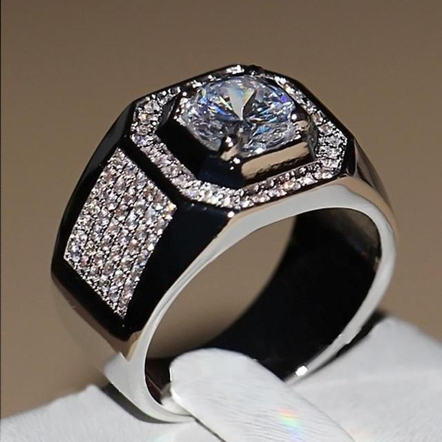 FANALA Men Alloy Geometric Shape Rhinestone Casual Ring
