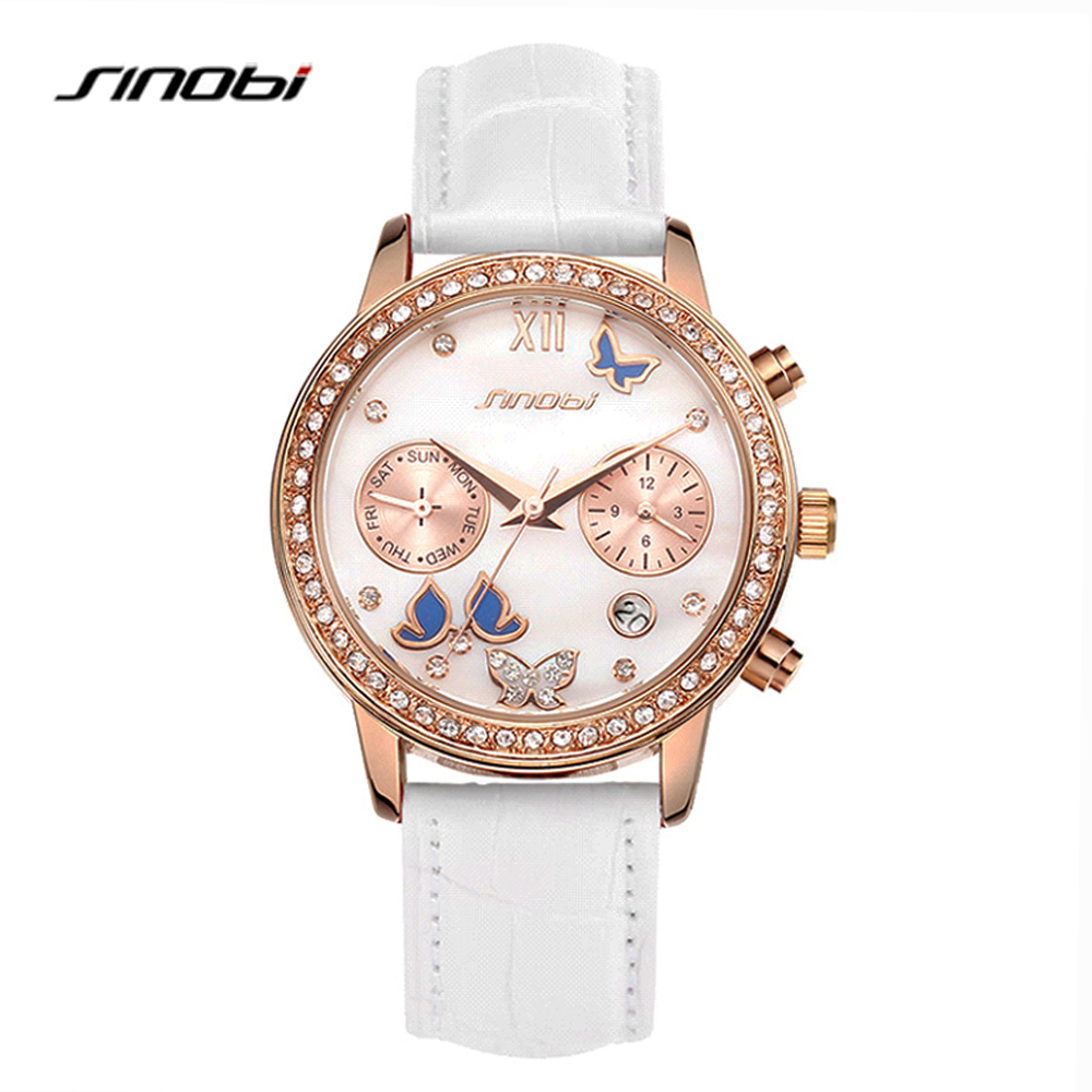 SINOBI Top Brand Luxury Women Watches Diamond White Leather Strap Week Calendar Display Quartz Wrist Watch For Elegant Female elegant ceramic quartz wrist watch for female white silver 1 x 377