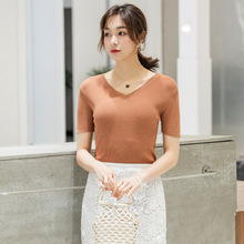 2019 summer new women t-shirt V-neck slimming knitted short-sleeved knit solid shirt F9903