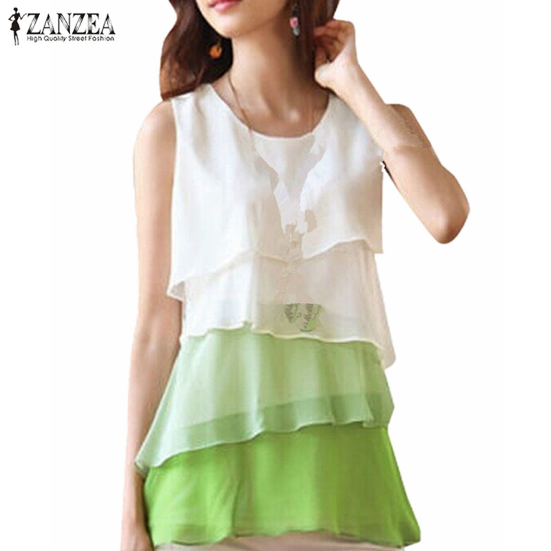 2019 ZANZEA Women Chiffon Vest Shirt Summer Sexy O Neck Sleeveless Ruffled Party Tank Tops Ladies Solid Loose Shirt Tee Blouse