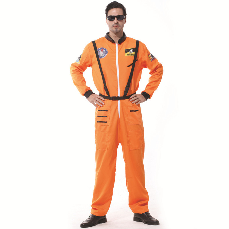 Astronaut Fancy Dress For Adult Men Space Flight Pilot Jumpsuit Outfit Fantasia Party Costume